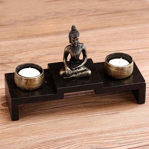 Mini Buddha Statue w/ Wood Base and 2 Tealight Holders - MyGift