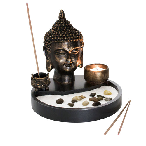 Zen Garden with Buddha Head Statue-MyGift