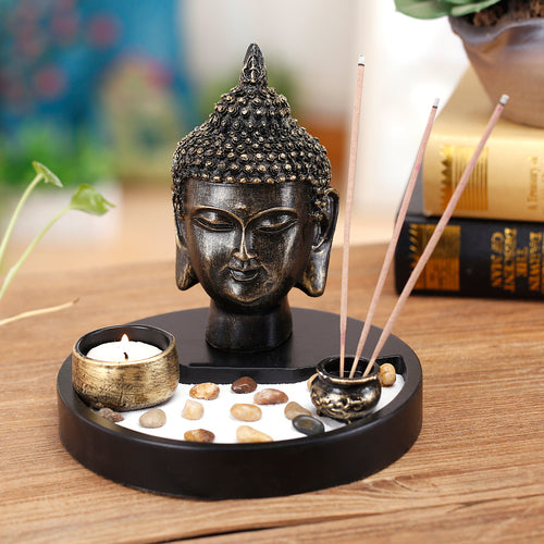 Zen Garden with Buddha Head Statue
