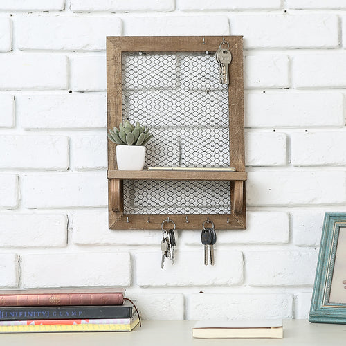 Wood and Metal Chicken Wire Jewelry/Entryway Frame w/ Shelf-MyGift