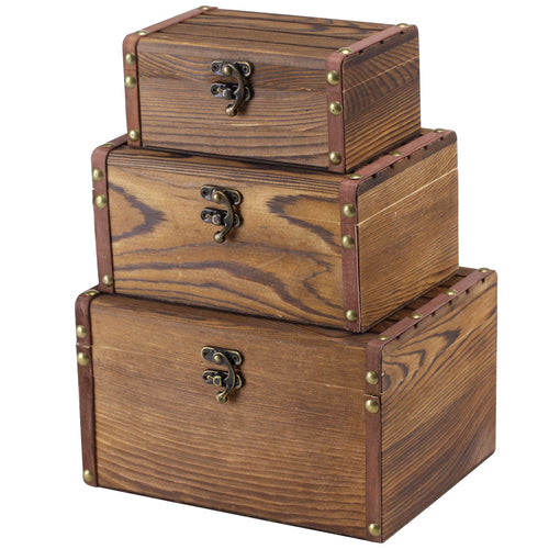 Vintage Style Brown Wood Mini Storage Chests w/ Latch, Set of 3