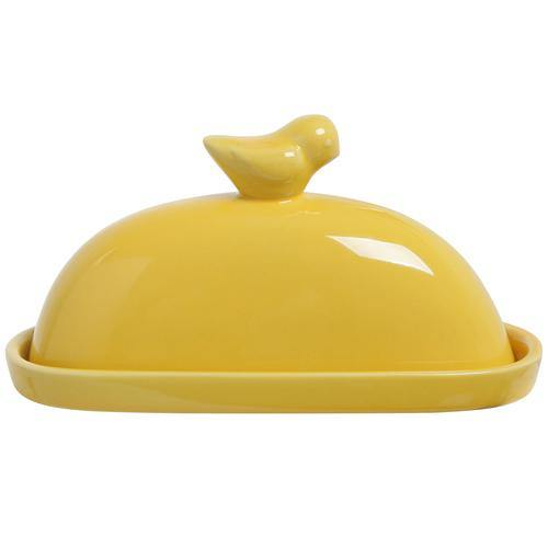 Yellow Bird Ceramic Butter Dish