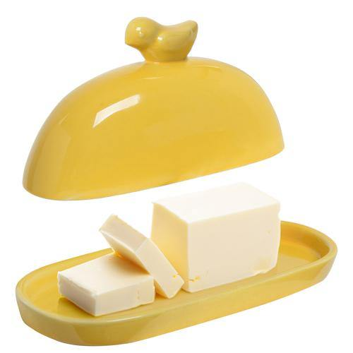 Yellow Bird Ceramic Butter Dish - MyGift