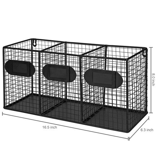 Black Metal Wire 3-Compartment Organizer-MyGift