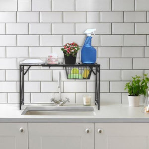 Black Metal Expandable Over-The-Sink Rack w/Pull-Out Drawer