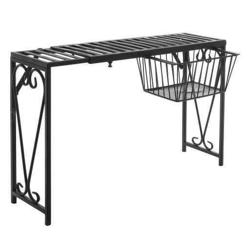 Black Metal Expandable Over-The-Sink Rack w/Pull-Out Drawer - MyGift