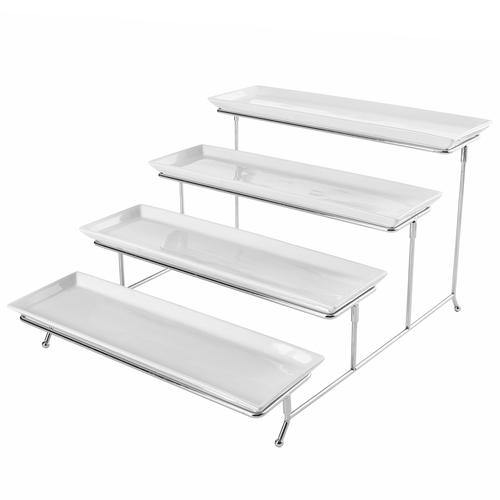 White Ceramic and Chrome Buffet Riser-MyGift