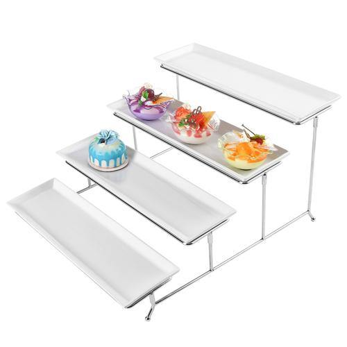 White Ceramic and Chrome Buffet Riser