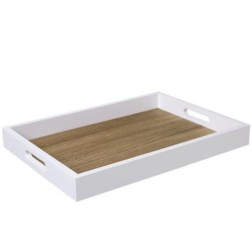 Brown/White Wood Serving Tray - MyGift