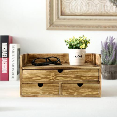 Rustic Torched Wood Desktop Cabinet