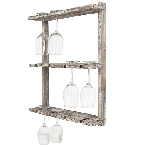 Brown Barnwood Wood Wall-Mounted 12 Wine Glass Holder Rack-MyGift
