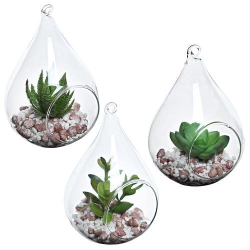 Teardrop Design Hanging Vases with Faux Succulents, Set of 3