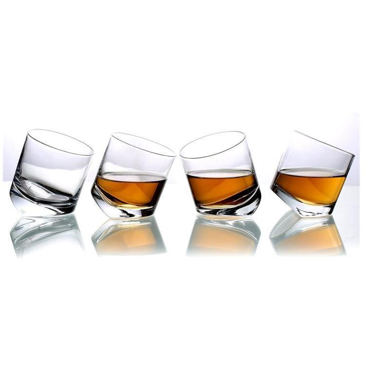 Tilting Whiskey Scotch Glasses, Set of 4 in Gift Box
