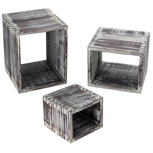 Torched Brown Wood Nesting Box Style Display Riser Stands, Set of 3 - MyGift