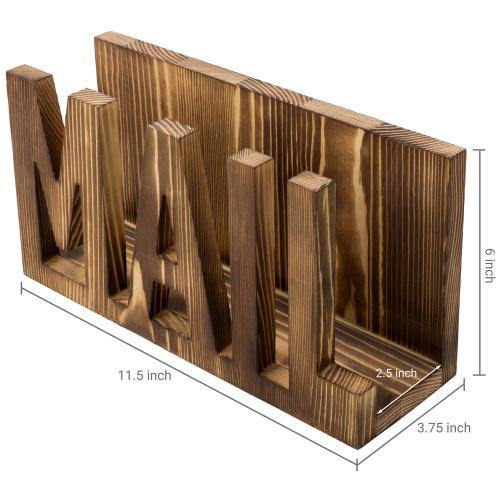 Torched Dark Brown Wood Cutout Mail Holder