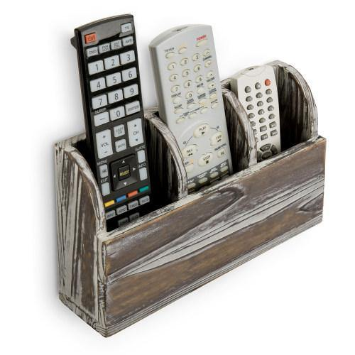 Torched Solid Wood Wall Mounted Remote Control Organizer - MyGift