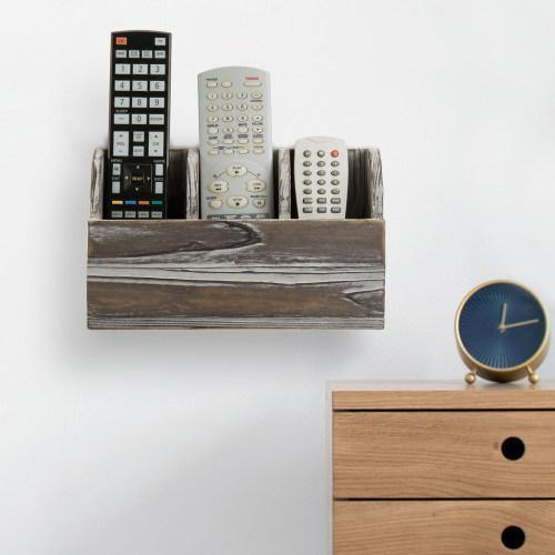 Torched Solid Wood Wall Mounted Remote Control Organizer