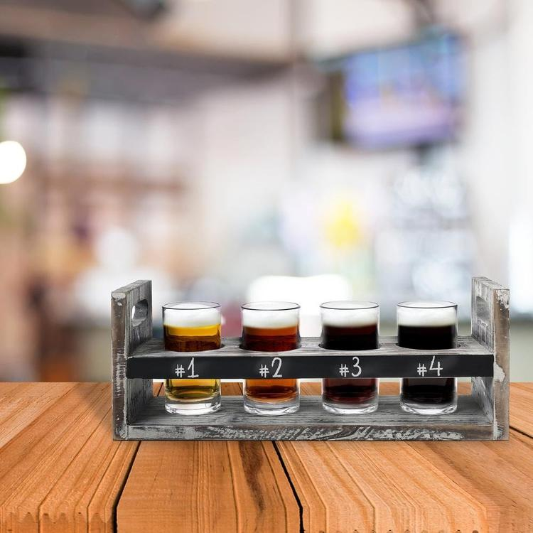 Torched Wood 5 pc Craft Beer Flight Tasting Serving Set with 4 Glasses & Chalkboard Panel - MyGift Enterprise LLC