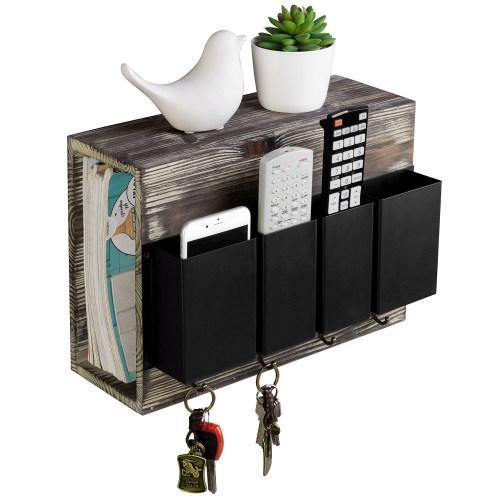 Torched Wood and Black Metal Entryway Mail Sorter Rack with Hooks - MyGift