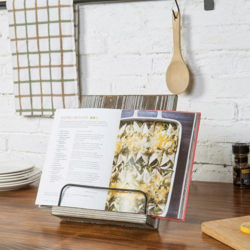 Torched Wood and Metal Cookbook Holder - MyGift
