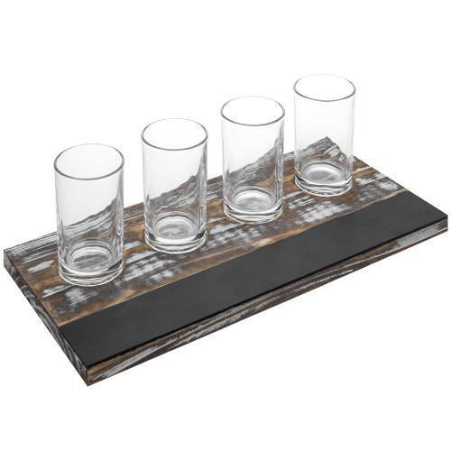 Torched Wood Beer Flight Tray with 4 Glasses & Chalkboard Panel