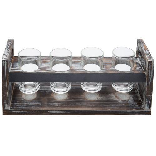 Torched Wood Beer Flight Tray with Chalkboard, 4 Glasses and Bottle Cap Holder - MyGift
