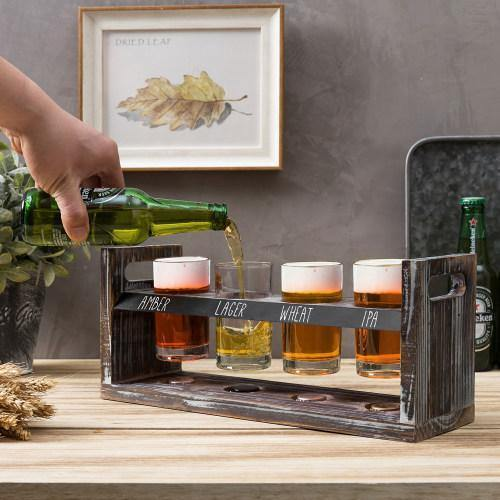 Torched Wood Beer Flight Tray with Chalkboard, 4 Glasses and Bottle Cap Holder