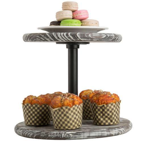 Torched Wood & Black Metal Pipe Dessert Display Stand - MyGift