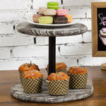 Torched Wood & Black Metal Pipe Dessert Display Stand