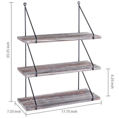 Torched Wood & Black Metal Wall Shelves - MyGift