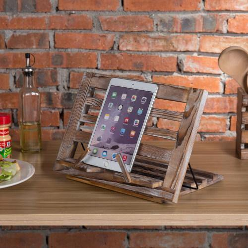 Torched Wood Cookbook & Tablet Stand - MyGift