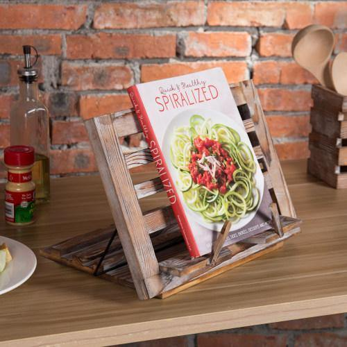 Torched Wood Cookbook & Tablet Stand