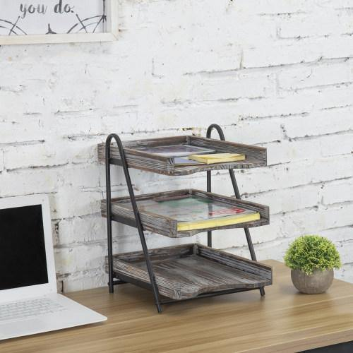 Torched Wood Desktop Document Tray