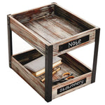 2 Tier Industrial Style Torched Wood Desktop Document Tray with Chalkboard Labels - MyGift Enterprise LLC