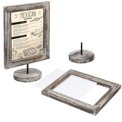 Torched Wood Double-Sided Picture Frames, Set of 2