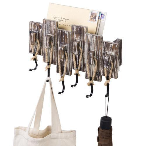 Torched Wood Entryway Mail Sorter with Hooks