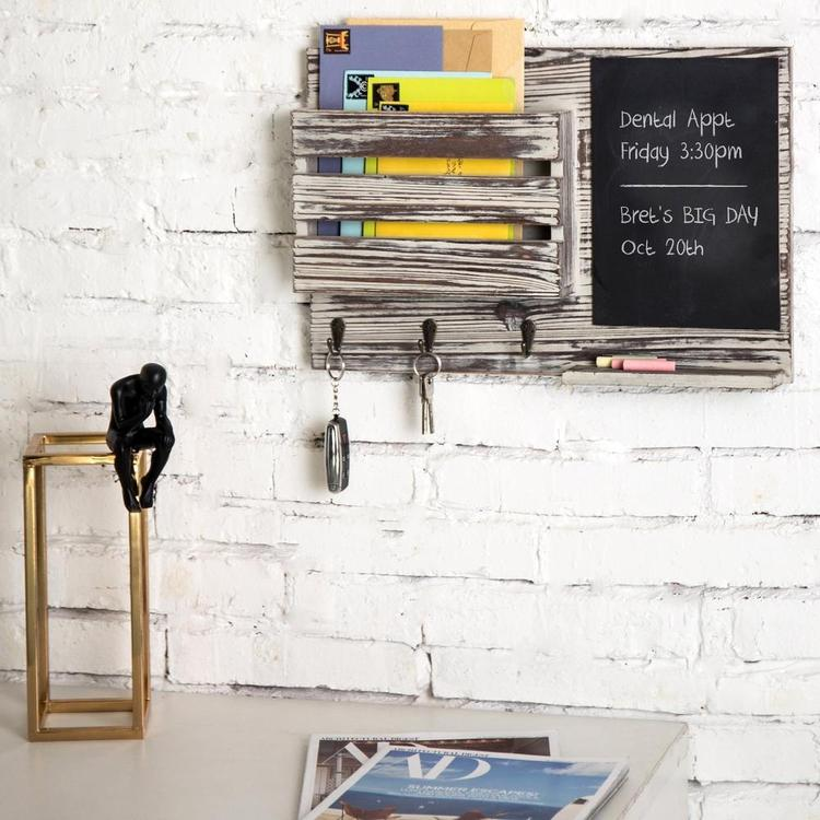 Torched Wood Wall-Mounted Mail Organizer with Chalkboard & 3 Key Hooks - MyGift Enterprise LLC