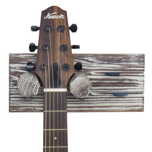 Torched Wood Guitar Hanger with Pick Holder