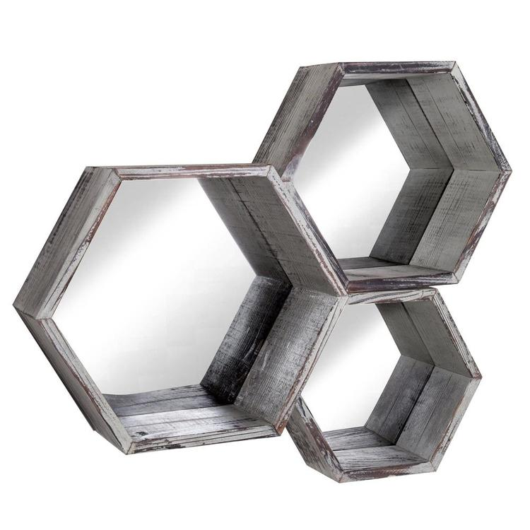 Torched Wood Hexagon Wall Mounted Floating Shelves w/ Mirrored Backing, Set of 3 - MyGift Enterprise LLC