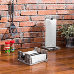 Torched Wood / Industrial Metal Pipe Paper Towel Dispenser & Napkin Holder Set