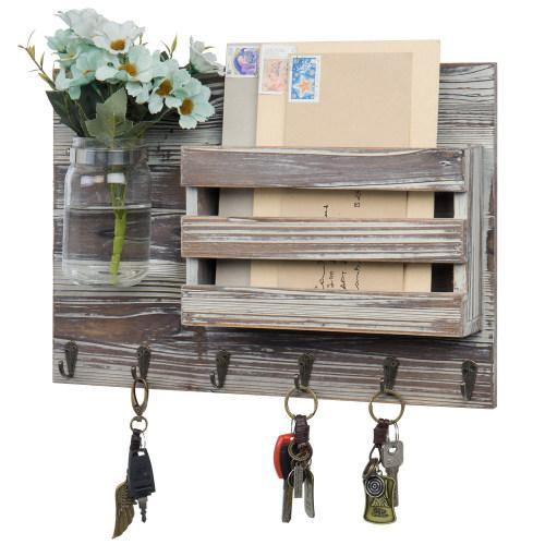 Torched Wood Mail Sorter with Hooks & Mason Jar - MyGift