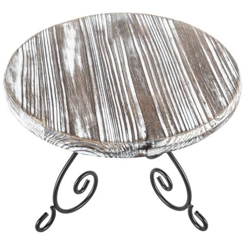 Torched Wood & Metal Design Cake Stand