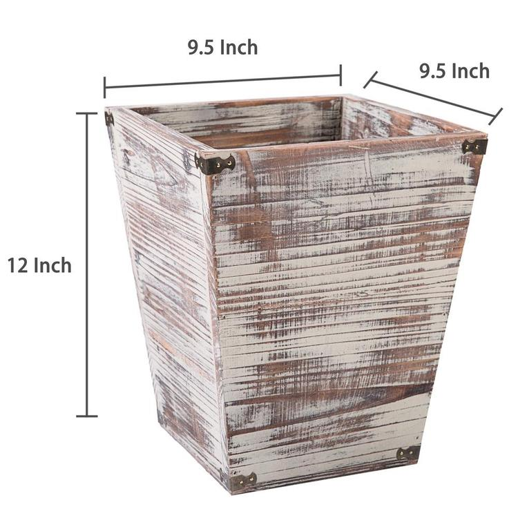 Farmhouse Torched Wood Square Wastebasket Bin with Decorative Metal Brackets - MyGift Enterprise LLC