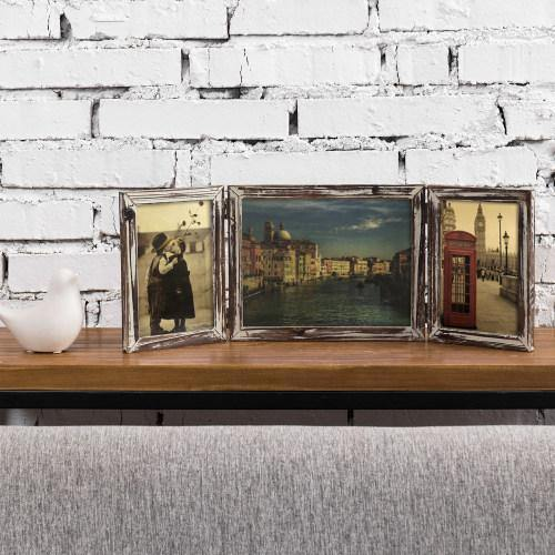 Torched Wood Tabletop Picture Frame, Three-Hinged