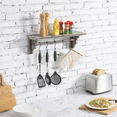 Torched Wood Wall Mounted Floating Shelf with Towel Bar and Hooks