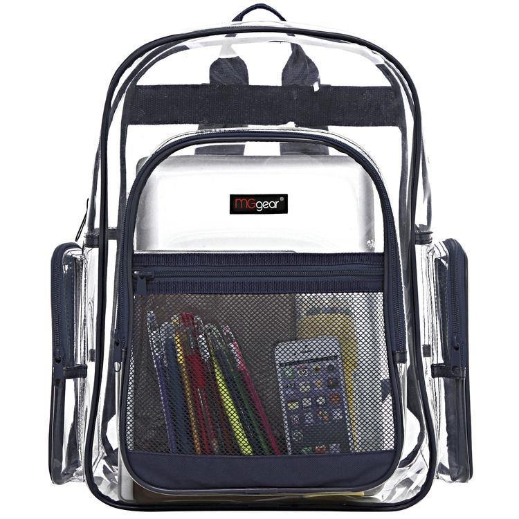 Transparent PVC Backpack with Navy Trim - MyGift
