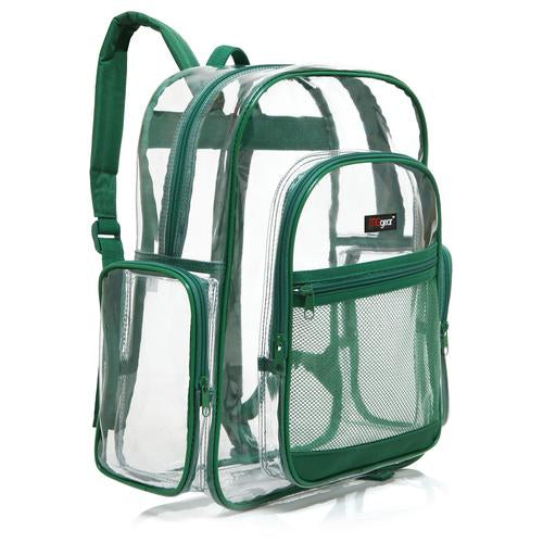 Transparent PVC School Bagpack with Green Trim