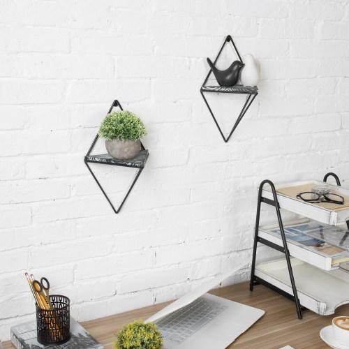 Triangle Hanging Shelves with Black Metal Frame, Set of 2