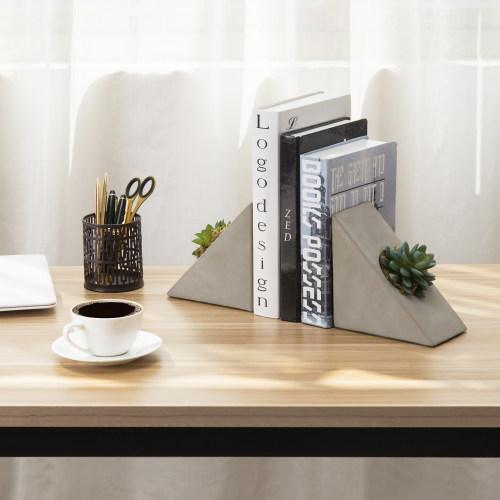 Triangular Concrete Bookends with Decorative Artificial Succulent Plant, 1 Pair