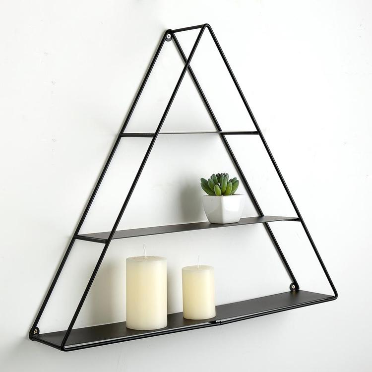 3 Tier Wall Mounted Triangular Matte Black Metal Pyramid Display Shelf - MyGift Enterprise LLC